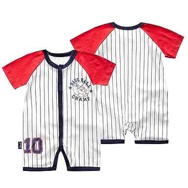 4204e35c38619 エルフ ベビー(Fairy Baby) ロンパース 半袖 ショートオール 前開き ベビー服 男の子 野球ユニフォーム