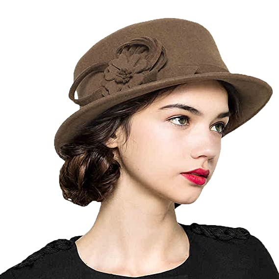Maitose reg  Women s Wool Felt Flowers Church Bowler Hats Camel ... 2fa80c487a90