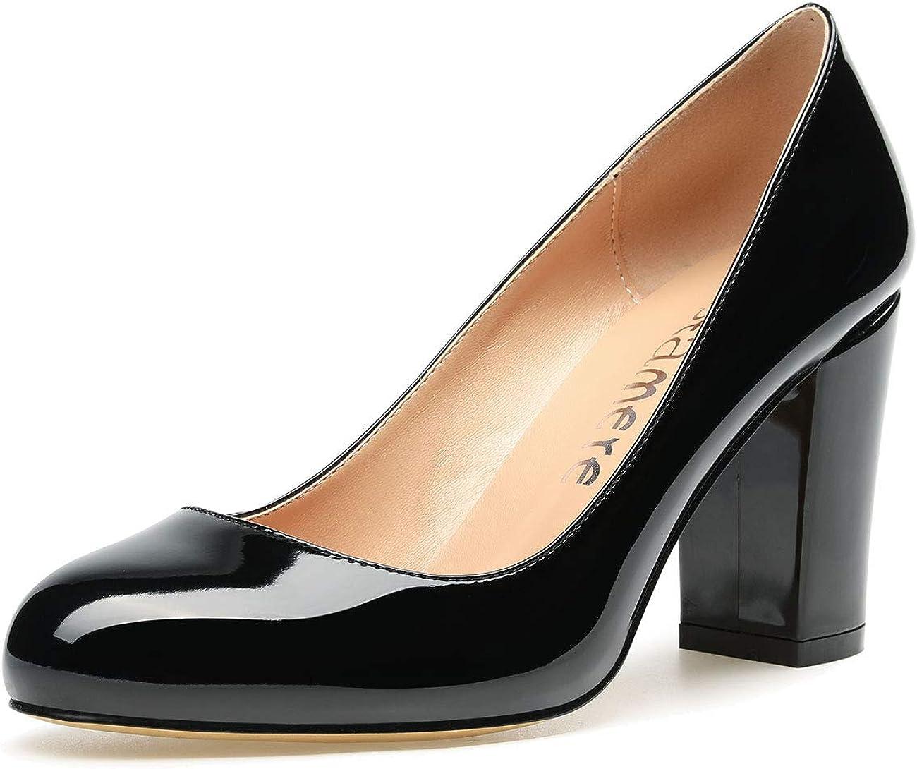 CASTAMERE Women's High Heels Round Toe Slip-On Pumps Block Heel 8CM
