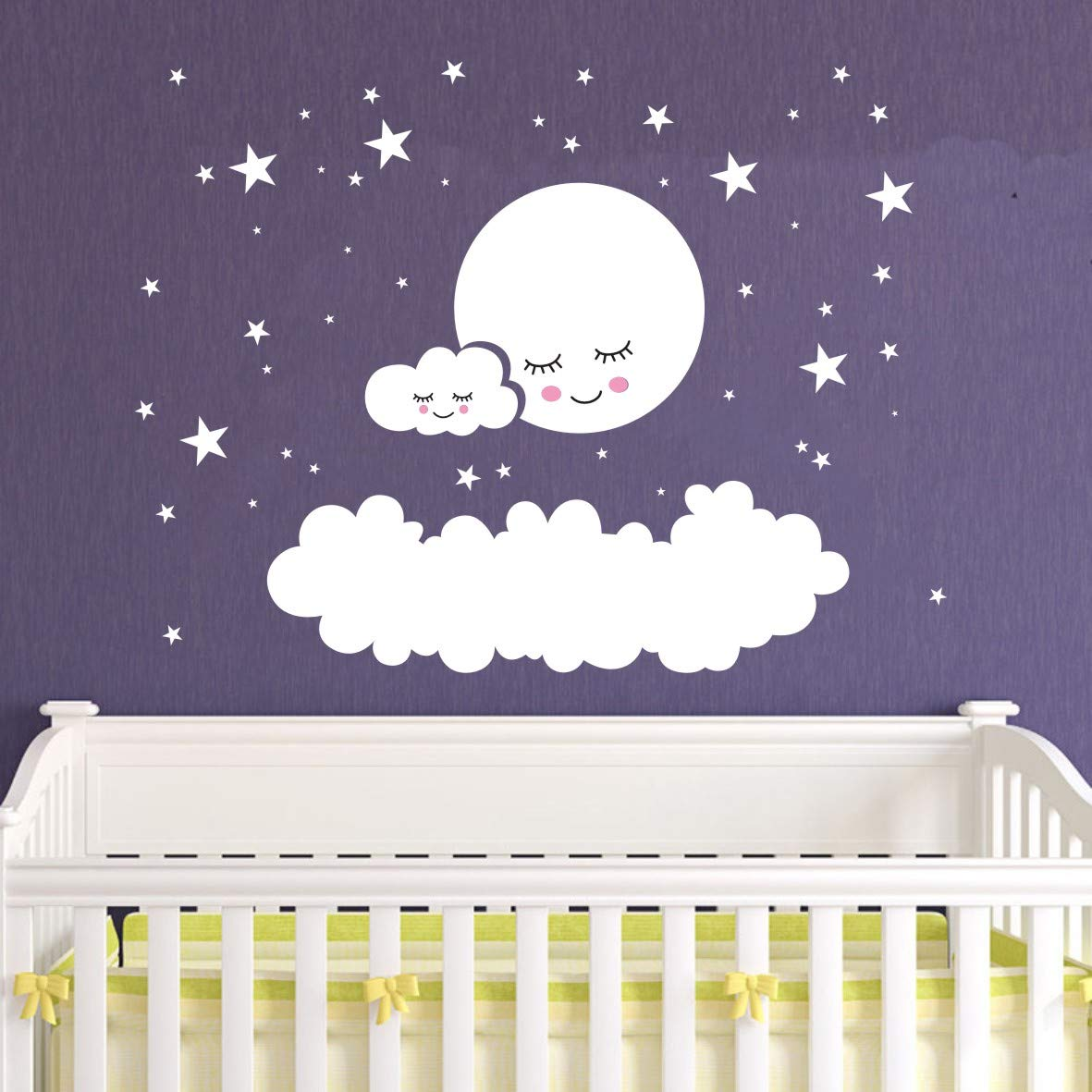Kids Room Decor Big Clouds Moon Stars Wall Stickers Sweet Smile Moon Nursery Room Bedroom Wall Mural Art Vinyl Wall Decor Stickers LY1385(White Sheet Size is 57x42cm)