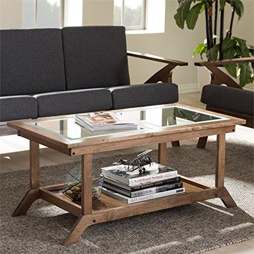 - Baxton Studio Cayla Glass-Top Coffee Table in Walnut