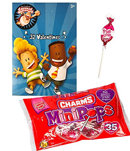 Captain Underpants 32 Valentine Cards and Charms Lollipops MiniPops Classroom Exchange Bundle For Kids (I-class Card)