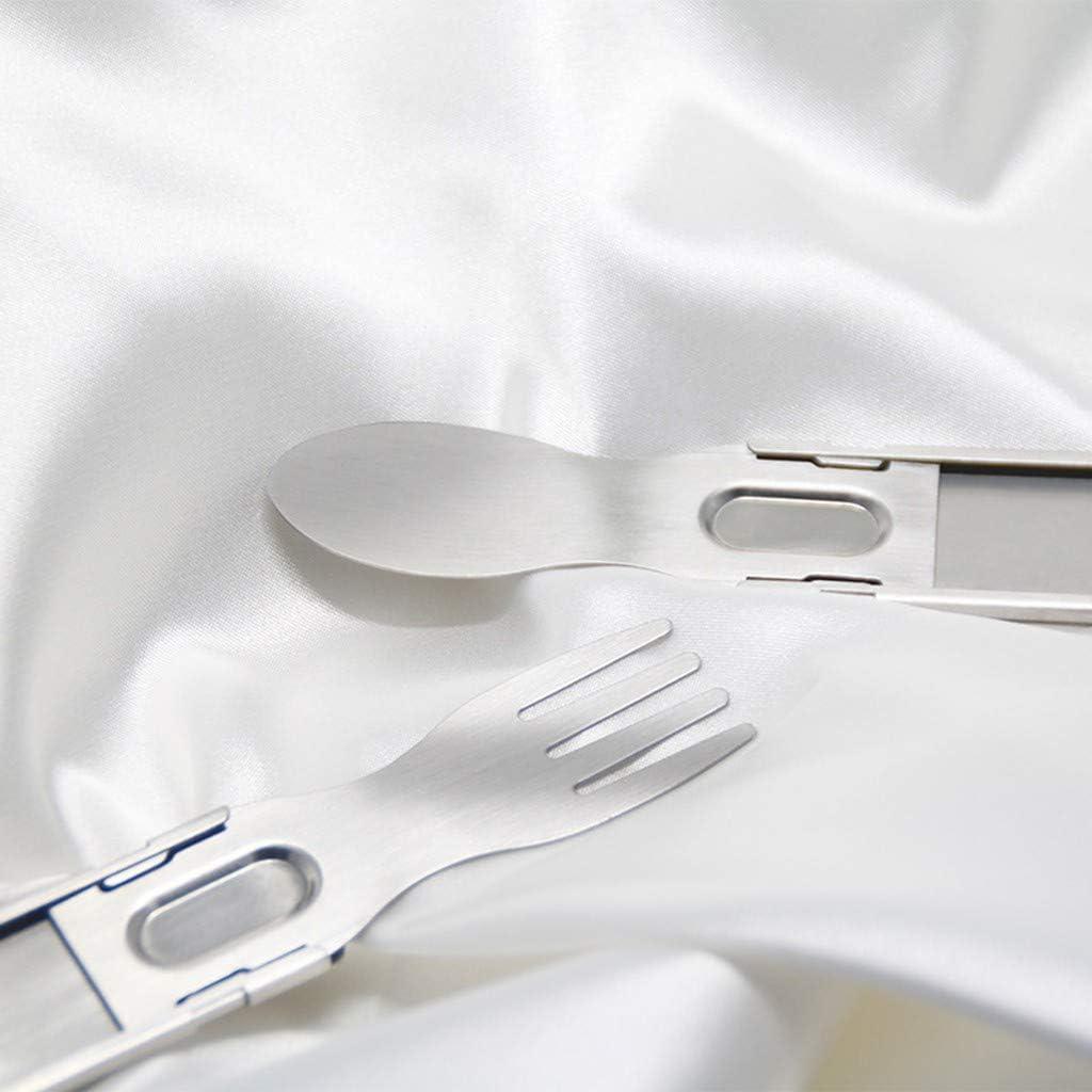 Portable Silverware Set Outdoor Tableware Spoon Telescopic Fork Travel Camp Flatware Skxinn Portable Utensils Reusable Stainless Steel Travel Camping Cutlery Set