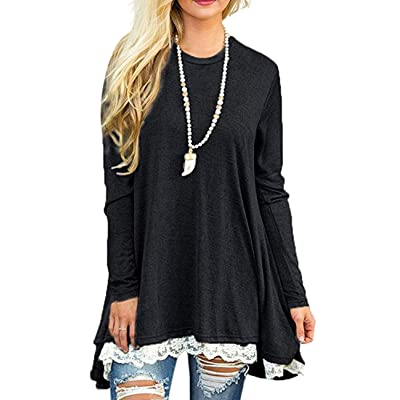 Women's Long Sleeve Lace Tunic Tops Round Neck Loose Blouse Casual Swing Cotton T-Shirt for Leggings Black at Women's Clothing store
