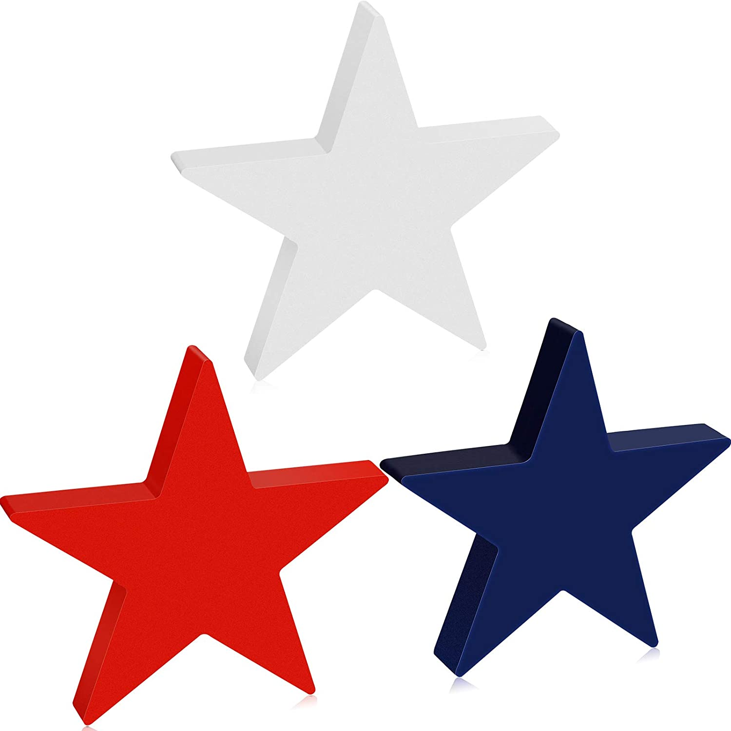 Youyole 3 Pieces Independence Day Wooden Star Blocks Patriotic Wood Star Standing Blocks 4th of July Tabletop Decor for American Festival Celebration Home Decor (Pure Color Series)