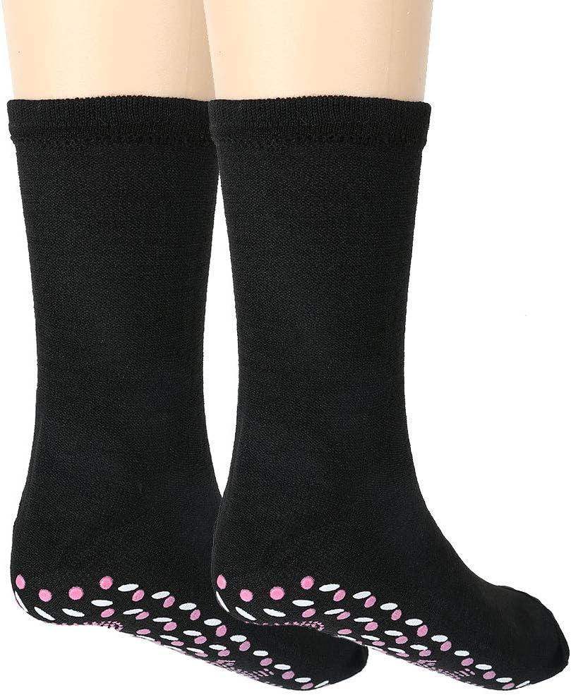 Peiosendor Self Heating Magnetic Sock Therapy Massage Tourmaline Healthcare Comfortable Warm Foot Socks for Women Men (Black)
