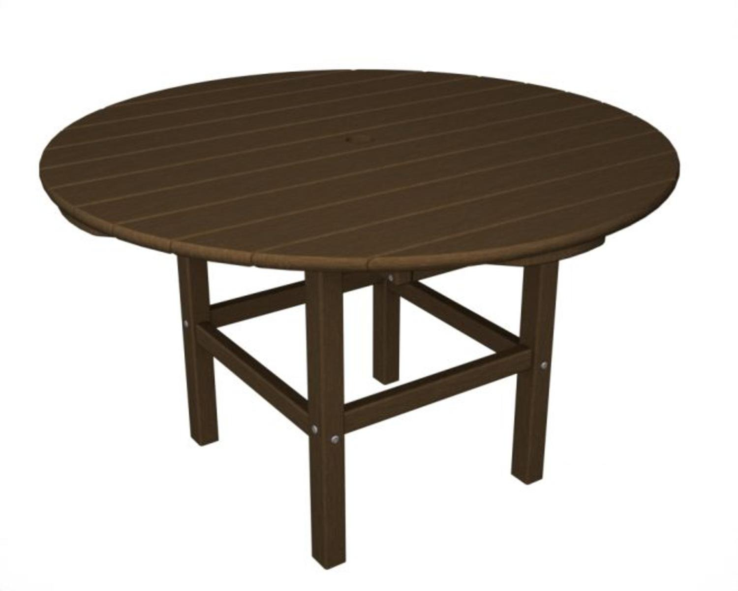 38'' Recycled Earth-Friendly Outdoor Patio Round Kid's Dining Table - Teak Brown