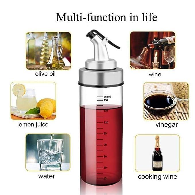 Fyuan 1pcs Dispensador de Aceite de Oliva y Vinagre - 6 oz Botellas Cruet de Vidrio Transparente para Cocinar sin Deriva de Goteo Tapones: Amazon.es: Hogar