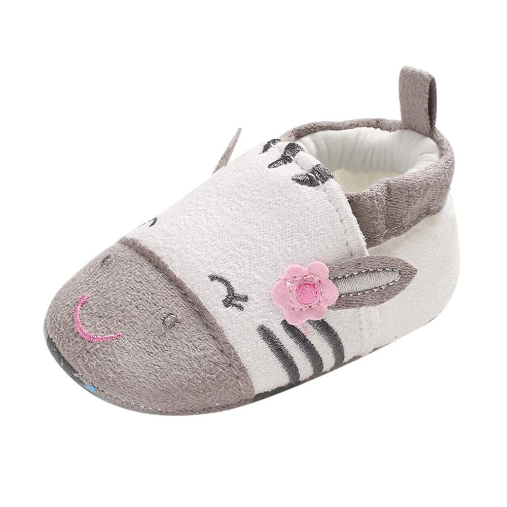 NUWFOR Baby Girl Soft Booties Snow Cartoon Animal Floor Shoes Prewalker Warm Shoes(Gray,12-18 Months)