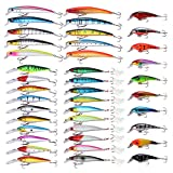 Goture 40 Pieces Crankbait Minnow Diving Fishing Lure Set Multi-color Artificial Bait with Treble hooks for Bass Trout Pike
