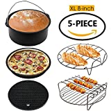 The Modern Home Extra Large Universal Air Fryer Accessories Set for 5.3QT and 5.8QT Air Fryer or Deep Fryer, Includes Pizza Pan, Cake Pan, Silicone Mat, Metal holder and Skewer Rack