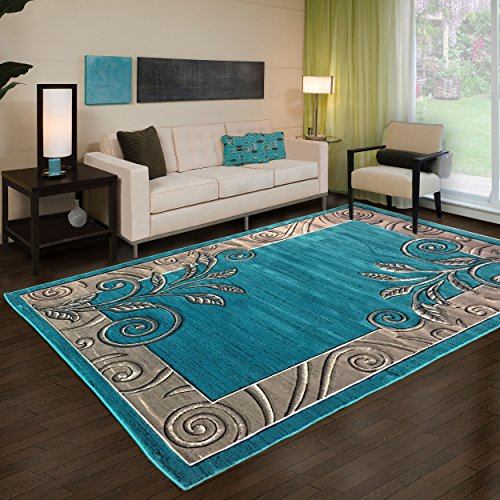 Golden Rugs Modern Area Rug Flowers Floral Hand Carved 500.000 Count 12MM Pile Height Contemporary Floor Carpet Texture for Indoor Living Dining Room and Bedroom Platinium Collection (5x8, Turquoise) (Turquoise And Brown Rugs)