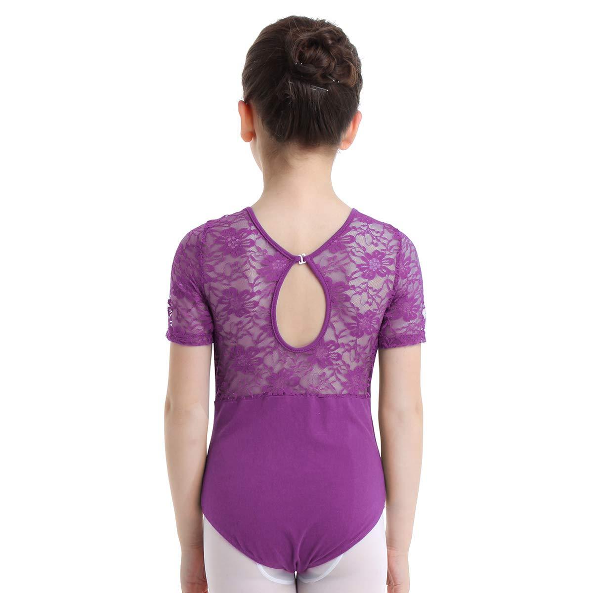 Agoky Girls Floral Lace Splice Keyhole Back Short Sleeves Ballet Dance Gymnastics Leotard Jumpsuit