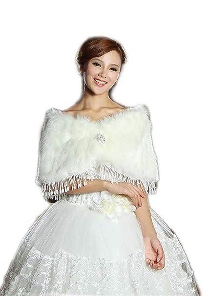 Accesorios De Novia Mujer Invierno Boda Novia Bridal Capa Bufanda Termica Chaqueta De Novia Piel Sintética
