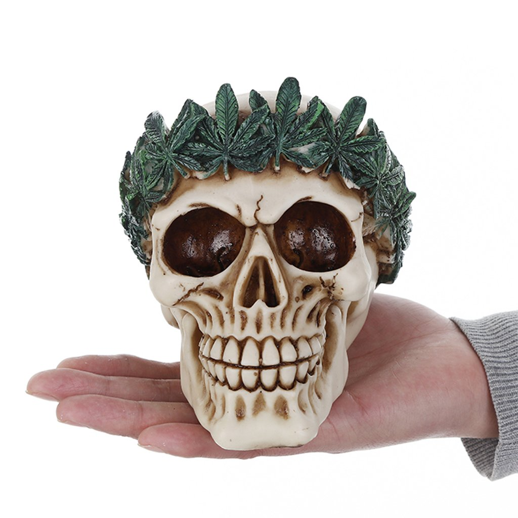 MagiDeal 3D Gothic Skull with Headband Figurine Halloween Decorative Resin Collectible Steampunk Rave Cyber Goth Craft