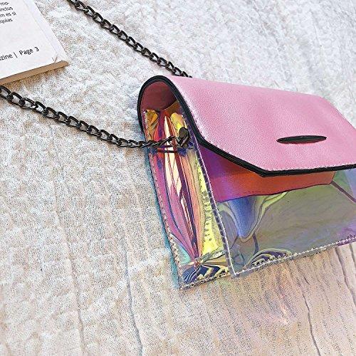 Transparent Pink TOOGOO Leather Bag Messenger Small Black Pu Female Fashion Plastic Chain Bag Shoulder Square Vintage BqxZgUxw