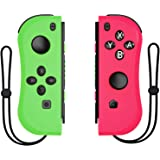 Kinvoca Joy Pad Controller for Nintendo Switch, L/R Switch Controller Replacement, Wired/Wireless Switch Remotes - Pink and Green