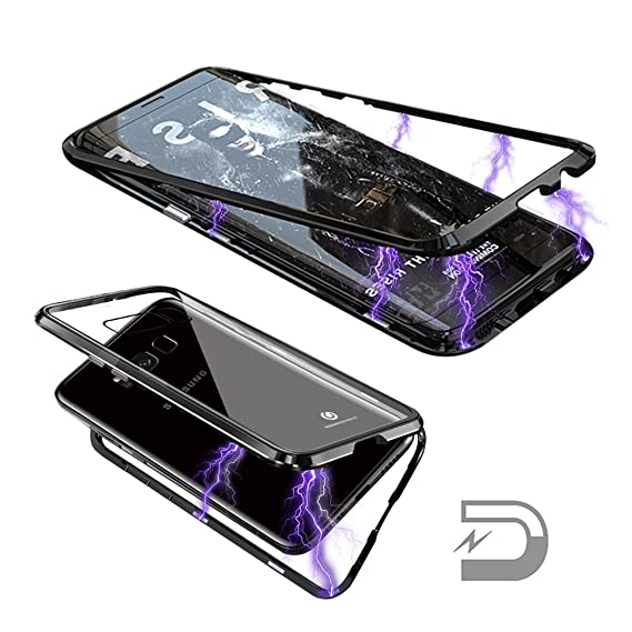 3856fecc1 Samsung Galaxy S8 Magnetic Adsorption Case Ultra Slim Metal Frame &Clear  Tempered Glass Back (Without