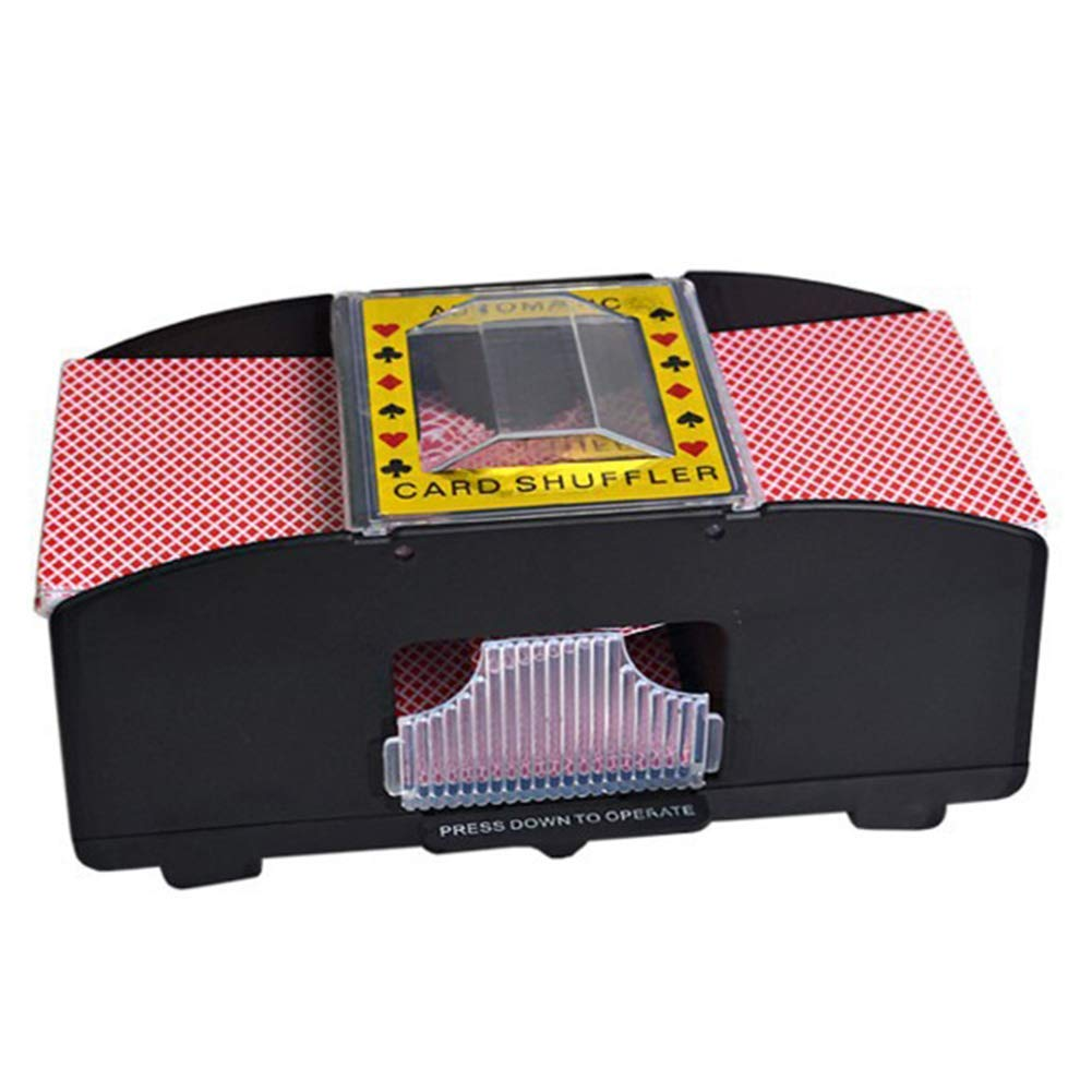 for Poker Relaxdays Card Shuffler Electric 6 Deck Rummy Battery Operated Mixing Machine to Shuffle Playing Cards etc Black
