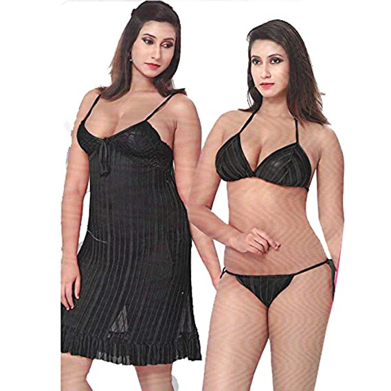 odishabazaar Sexy Transparent 3 Pc Lingerie Top + G String Baby Doll Sleep  Wear Gown Nighty(Black Free Size)  Amazon.in  Clothing   Accessories 3c28c73b6
