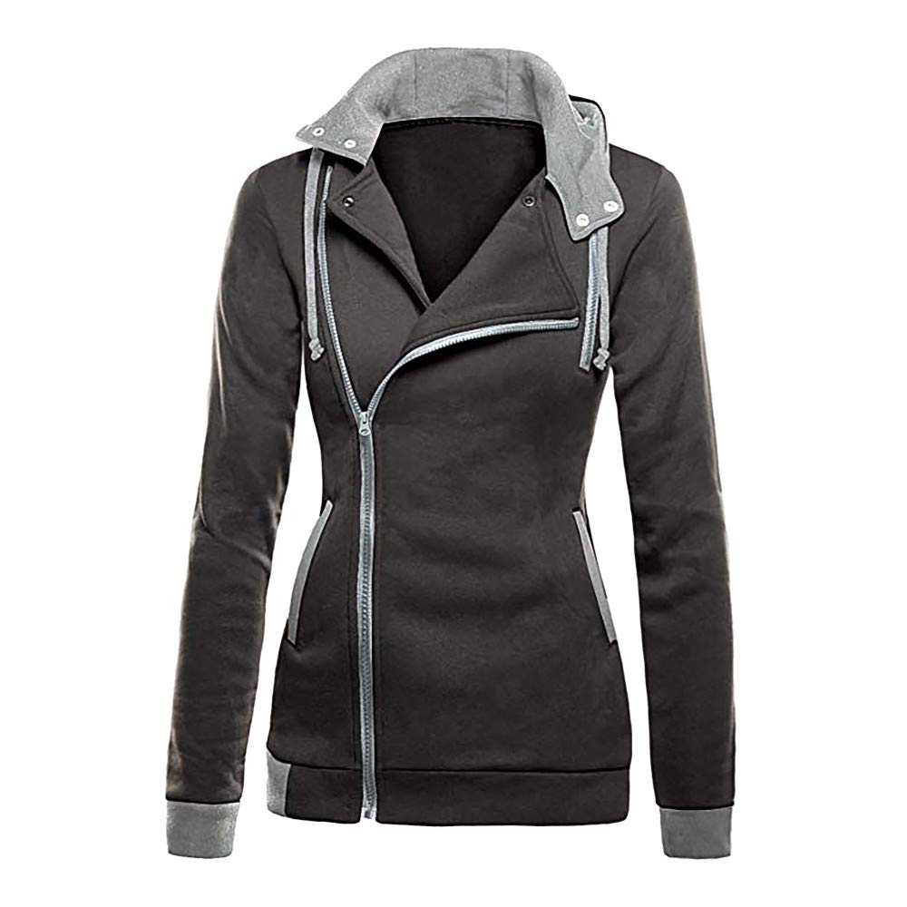 Women Jacket Spring Autumn Winter,Vanvler Ladies Oblique Zipper Hoodie Slim Fit Coat Long Sleeve Blouse S//US 4, Gray