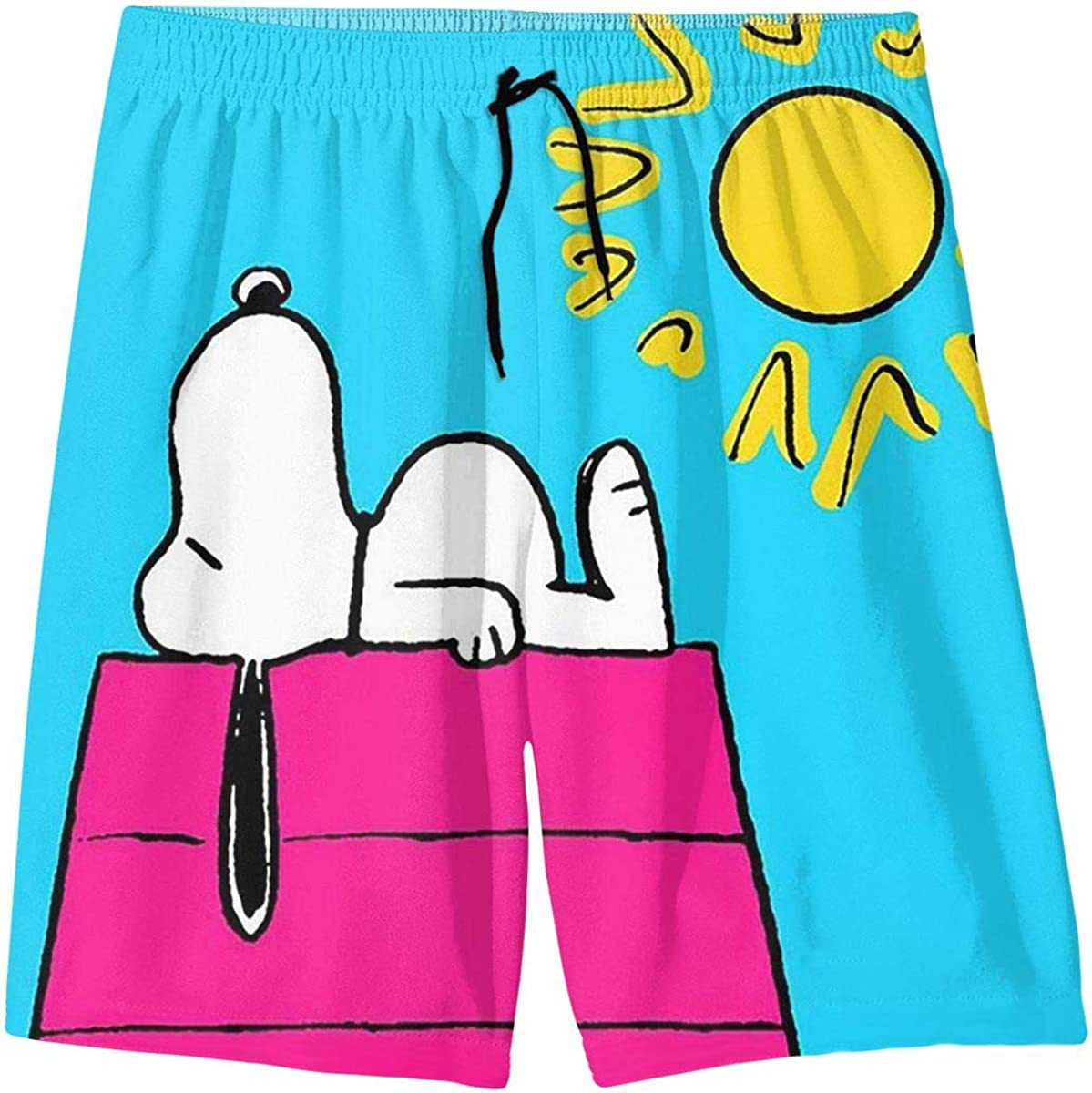 Swim Trunks Sunny Day Snoopy Quick Dry Beach Board Shorts Bathing Suit with Side Pockets for Teen Boys