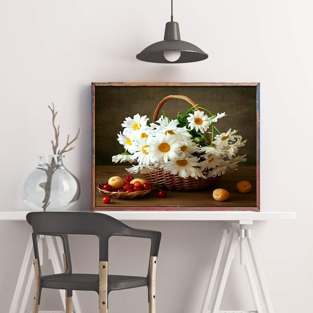 Diamond Painting Flowers Daisy in The Basket,DIY Crystal Diamond Painting Rhinestone Embroidery Cross Stitch Kits Supply Arts Craft Canvas Wall Decor Stickers 16x12 inches