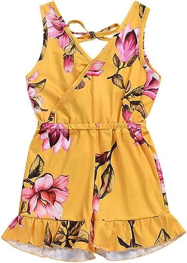 Luckycat Niña Momos Vestido Vintage Estampado de Niñas para Fiesta Cóctel Vestido Algodón de Verano sin Mangas con Cintura elástica para 1-5 Años: Amazon.es: Ropa y accesorios