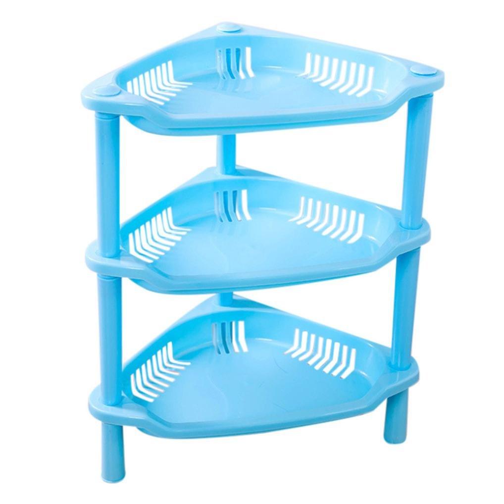 Plastic Corner Shelf Free Standing Bathroom Kitchen 3 Tier Storage ...