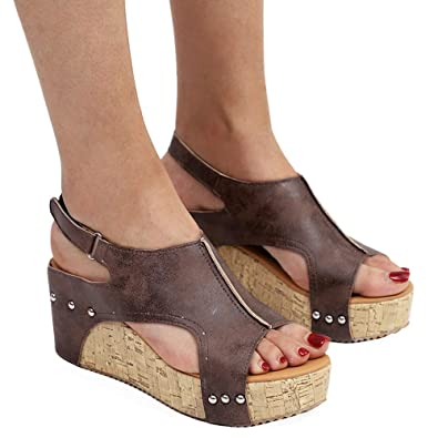 b8d65b63ba7 Athlefit Women's Cutout Belt Wedges Sandals Platform Faux Leather Cork High  Heels Size 5.5 Brown