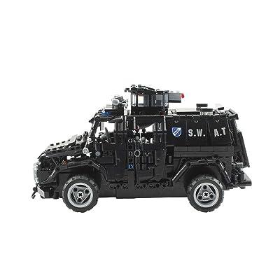 1:12 voiture à télécommande bi-directionelle spéciale de véhicule blindé de police 2.4G voiture télécommandée DIY assemblé blocs de construction