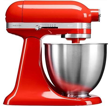 KitchenAid Mini - Robot de cocina (3,3 L, Rojo, palanca, 200 RPM, 1,219 m, CC): Amazon.es: Hogar