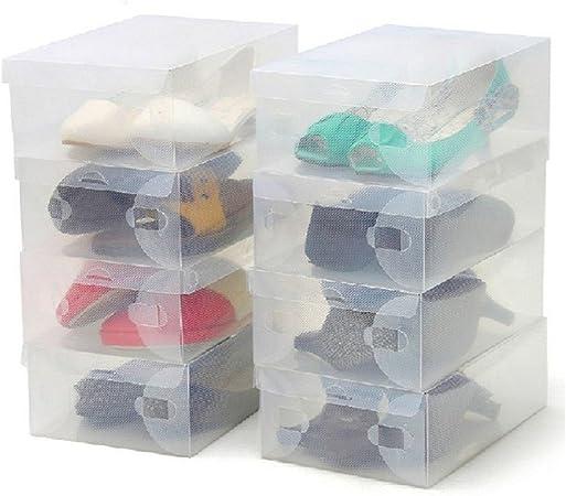 ZENUTA 10 x Cajas de Zapatos Transparente Plástico Caja Guarda Zapatos Cajones Almacenar Zapatos Almacenaje Apilables 28 x 18 x 10cm: Amazon.es: Hogar