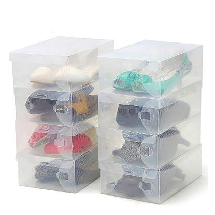 ZENUTA 10 x Cajas de Zapatos Transparente Plástico Caja Guarda Zapatos Cajones Almacenar Zapatos Almacenaje Apilables