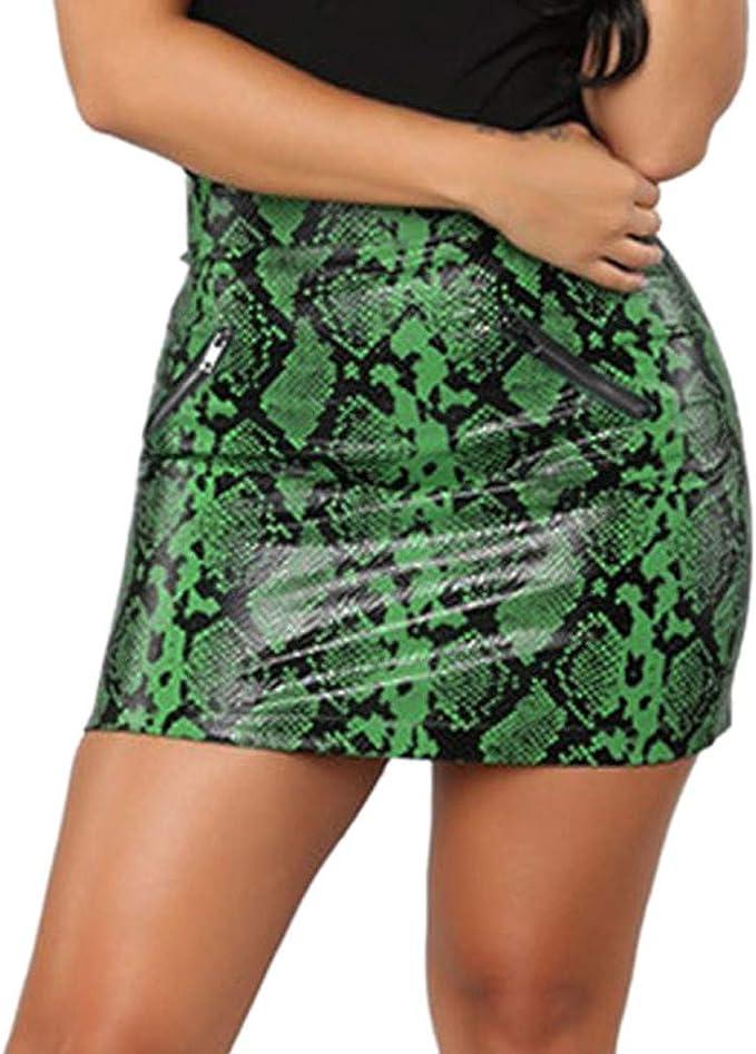 Logobeing Falda Cuero Mujer Verano, Mini Falda de Cuero Sexy para ...