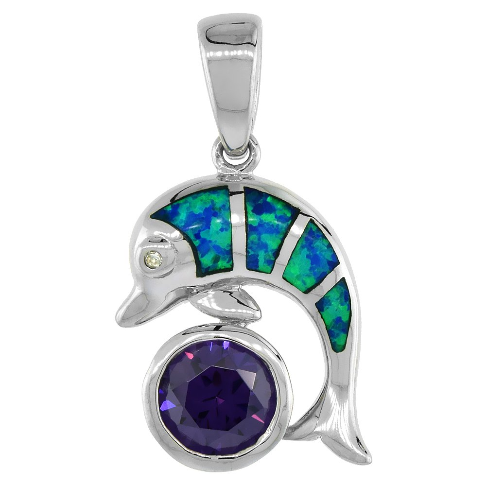 Sterling Silver Synthetic Opal Dolphin Necklace Hand Inlay Amethyst CZ /& White CZ 7//8 inch