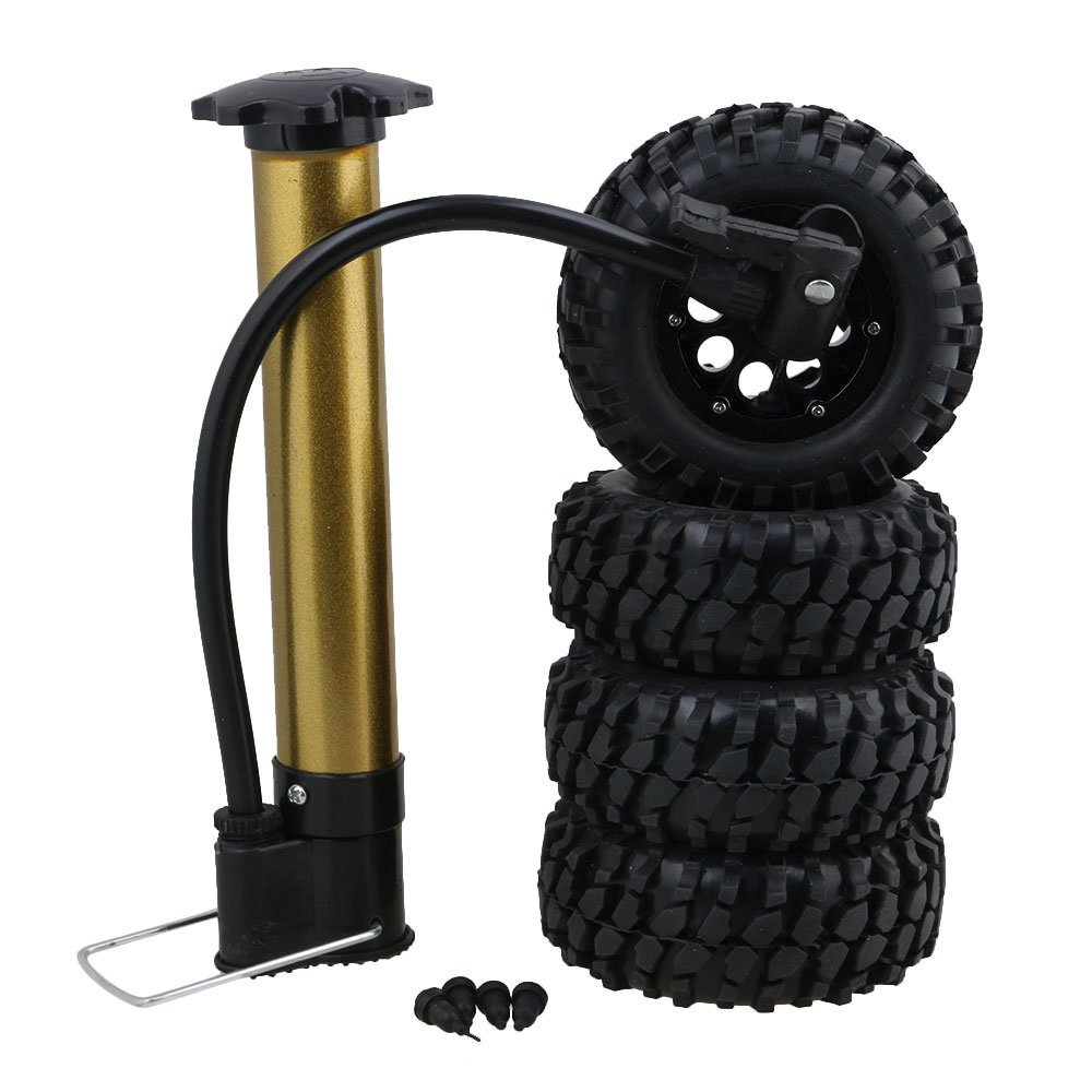 BQLZR 1.9  Black Inflatable Tires W 96MM Gravel Pattern Rubber Tire & Black Beadlock Rings 8 Holes Hub for RC1 10 Crawler Car Pack of 4