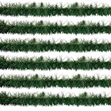 Christmas Soft Pine Garland Decorations 60 Feet Pack of 6 Holiday Winter Artificial Green Plastic Tree Rope for Kitchen Indoors Outdoors Staircase Railing Banister Door Fireplace Mantel Wreath Decor