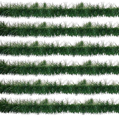Christmas Soft Pine Garland Decorations 60 Feet Pack of 6 Holiday Winter Artificial Green Plastic Tree Rope for Kitchen Indoors Outdoors Staircase Railing Banister Door Fireplace Mantel Wreath Decor -