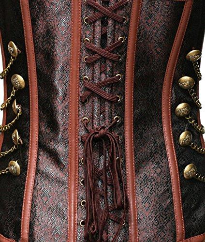 Estilo Punk BSLINGERIE vendimiadora sin hueso de acero de tallas de sujetador ramillete marrón