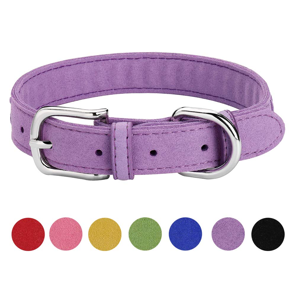 Purple XS Purple XS DAIHAQIKO Microfiber Dog Collar for Puppies Cats Small Medium Dogs Black bluee Green Pink Purple Red Yellow colorful Pet Collar with Alloy Metal Buckle Braided Decoration (XS, Purple)