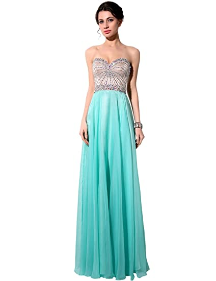 Sarahbridal Womens Long Sweetheart Beaded Chiffon Prom Dresses SSY007 Aqua UK16