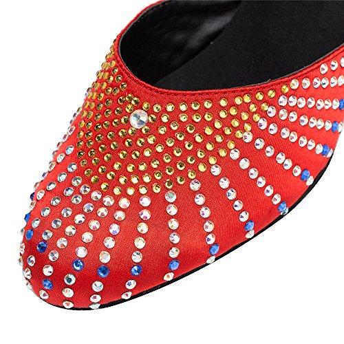 Señoras Moda Zapatos Cómodos Lamba Capilla Zapatos Rojo de 5 cm.
