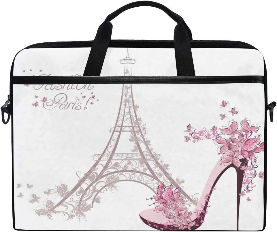 GIGIGIJY Fashion Paris - Maletín de lona con diseño de Torre Eiffel (13 en 13,3 en 14 en 15 pulgadas, para niños, niñas, hombres y mujeres