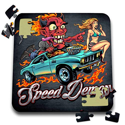 3dRose Flyland Designs - Dark, Devil, Cartoon, Car, Illustration - Speed-Racing Demon with a hot Girl on his hot Rod. - 10x10 Inch Puzzle (pzl_295913_2)