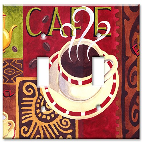 Double Gang Toggle Wall Plate - Coffee Cafe