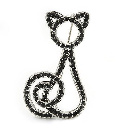 Jet Black Swarovski Crystal 'Cat' Brooch In Rhodium Plating - 50mm Length