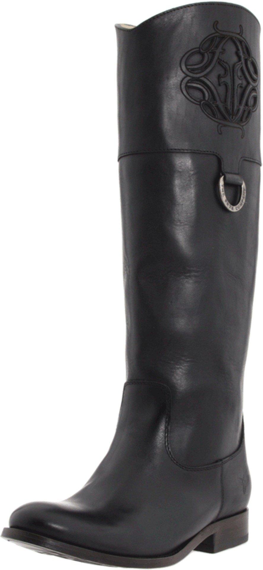 FRYE Women's Melissa Logo Boot, Black Smooth Full Grain, 6.5 M US