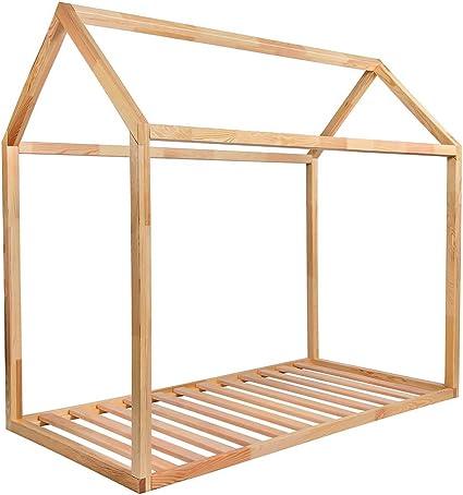 KAGU Cama ASTER, 160 cm x 80 cm x 148 cm, peso 31 kg, forma de una casita, cama infantil, cama casa, cómoda, confortable, segura para niños, de madera, para niños, montaje