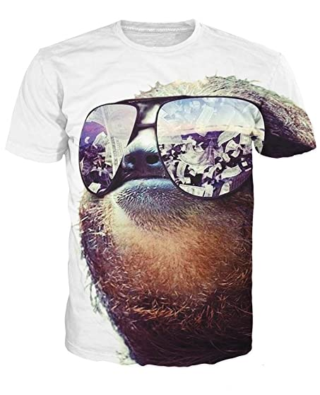 amazon com glucky men t shirt 3d sloth with sunglasses wads of cash
